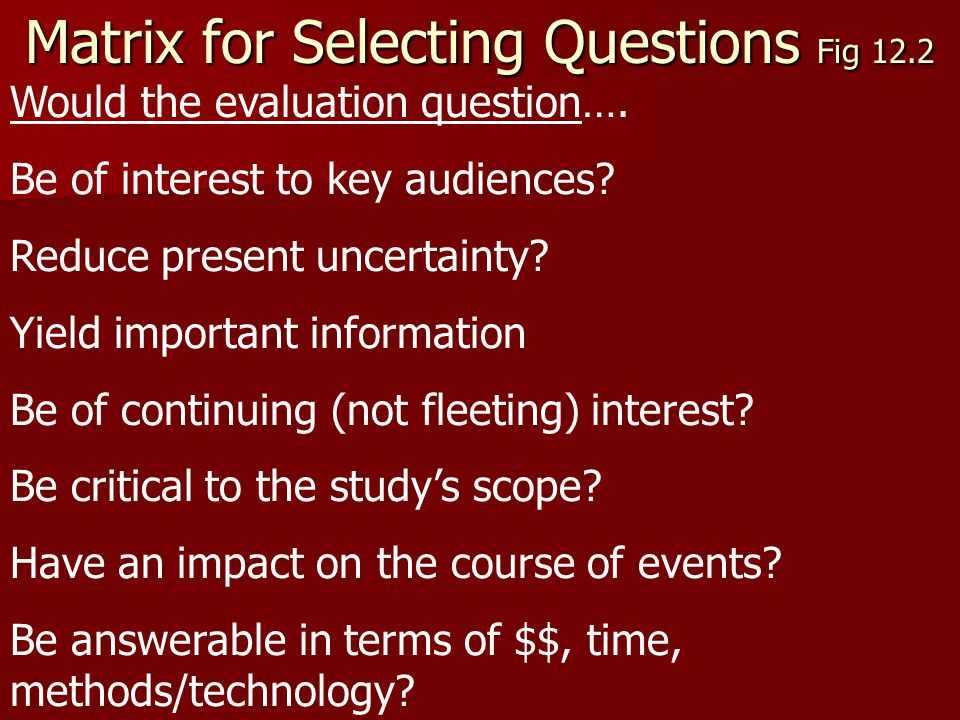 Matrix for Selecting Questions Fig 12.2