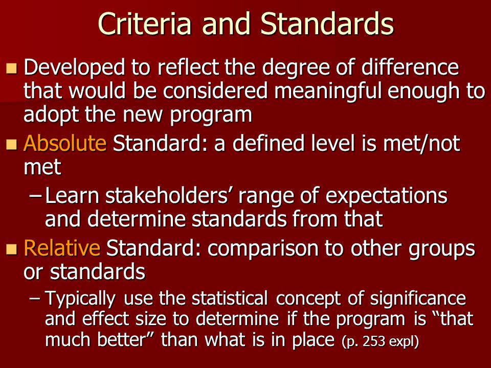 Criteria and Standards