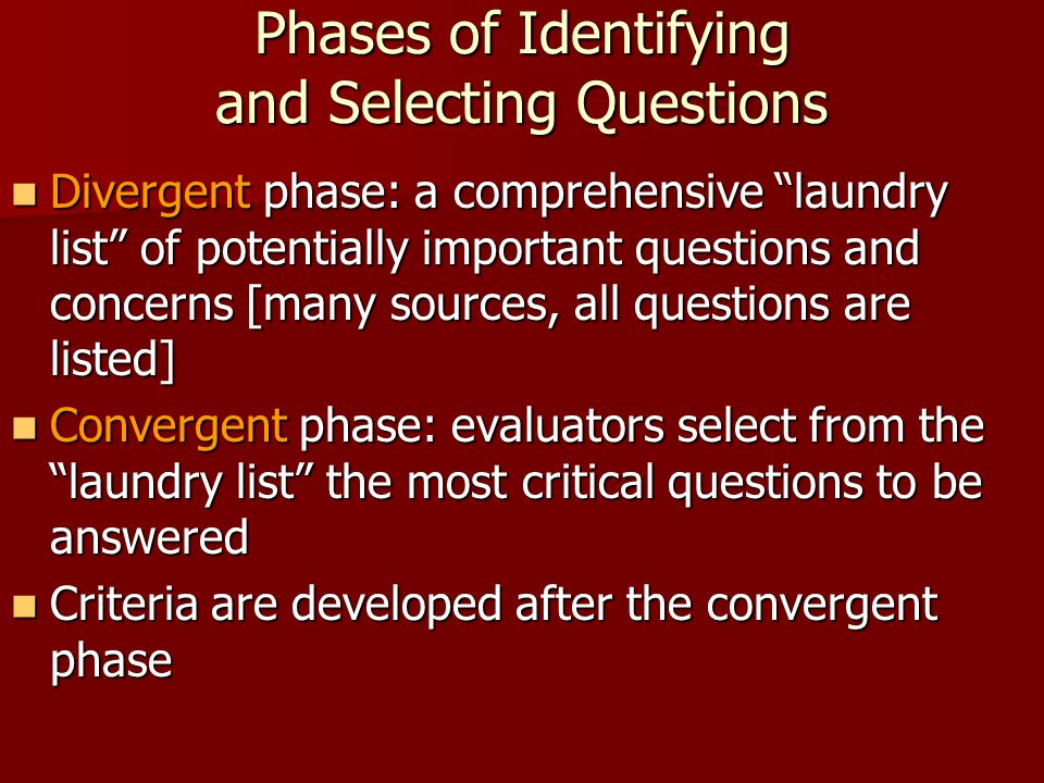 Phases of Identifying and Selecting Questions