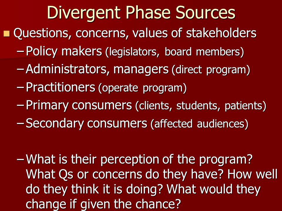 Divergent Phase Sources