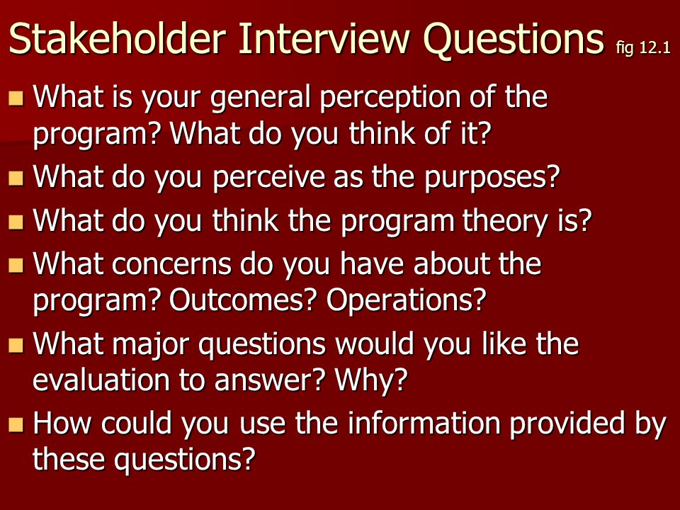 Stakeholder Interview Questions fig 12.1