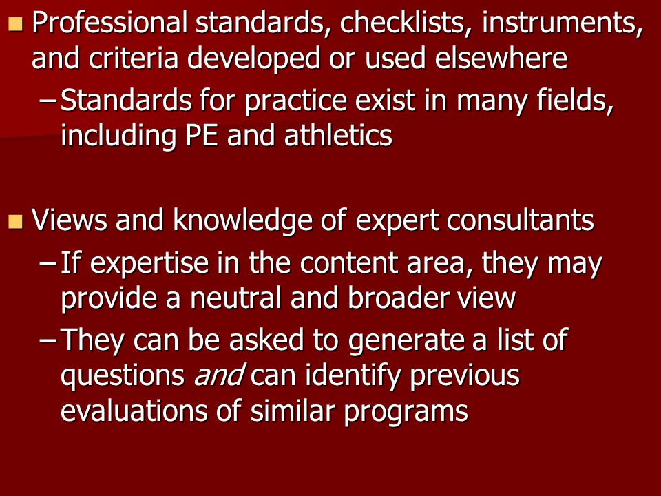 Professional standards, checklists, instruments, and criteria developed or used elsewhere