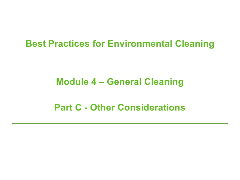Best Practices for Environmental Cleaning