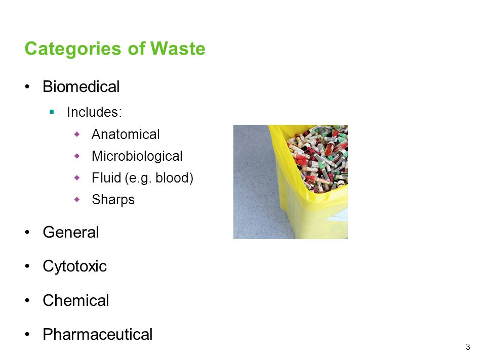 Categories of Waste Biomedical General Cytotoxic Chemical