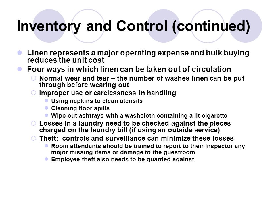 Inventory and Control (continued)