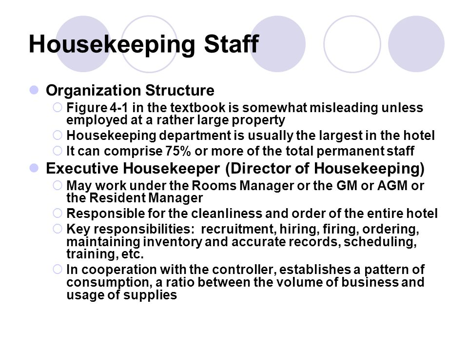 Chapter four housekeeping ppt video online download 3 housekeeping staff organization structure thecheapjerseys Gallery