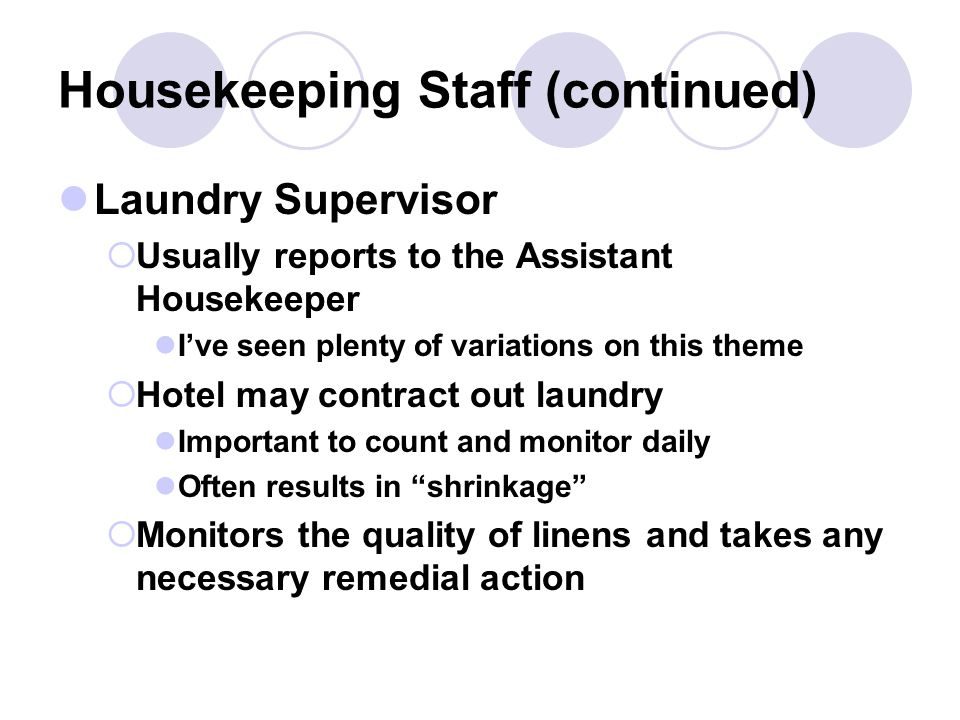 Housekeeping Staff (continued)