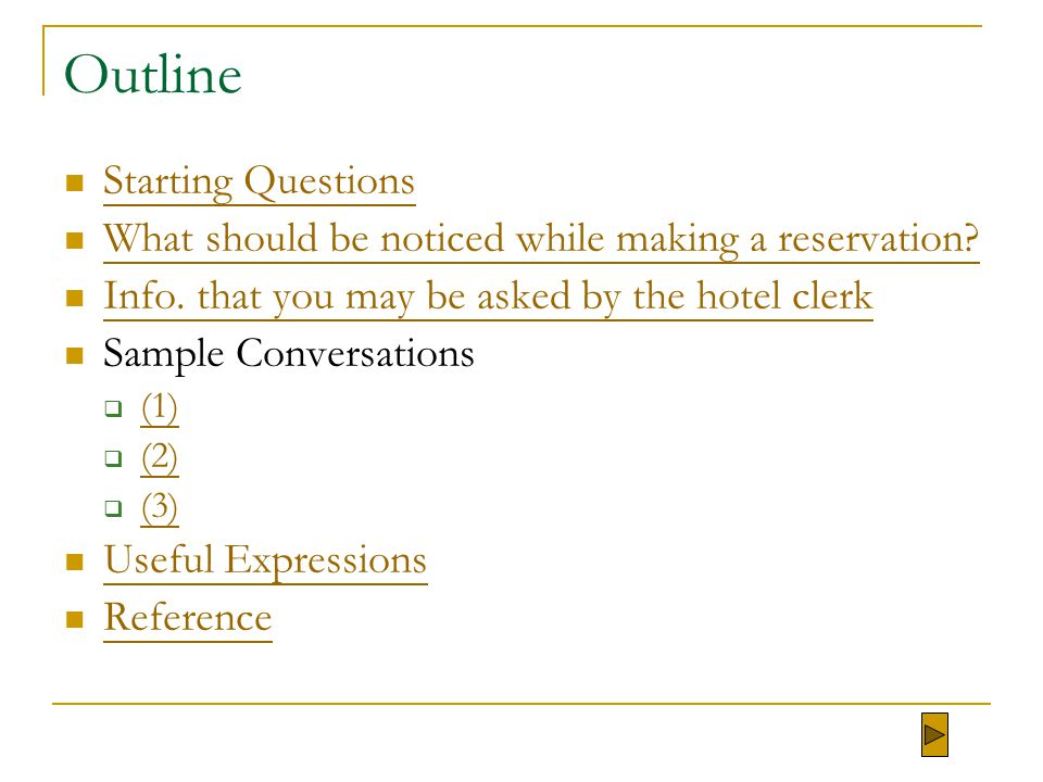 Outline Starting Questions