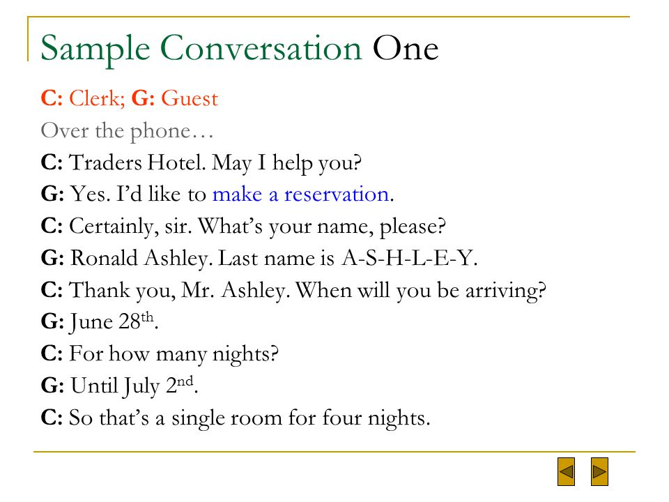 Conversation practice ppt video online download for Reservation dhotel