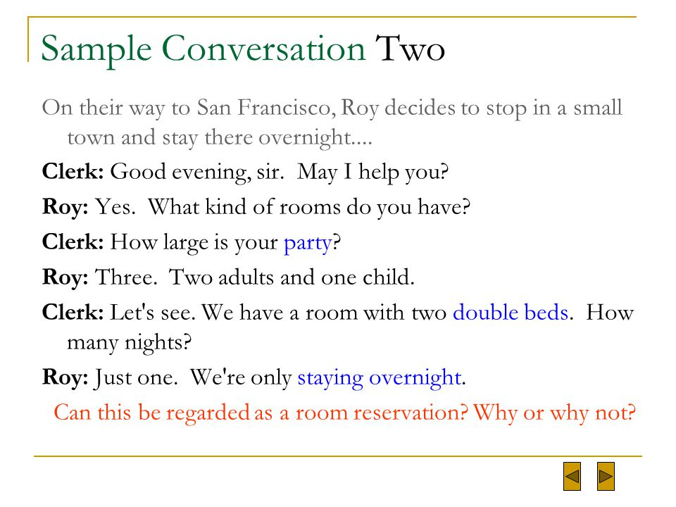 Sample Conversation Two