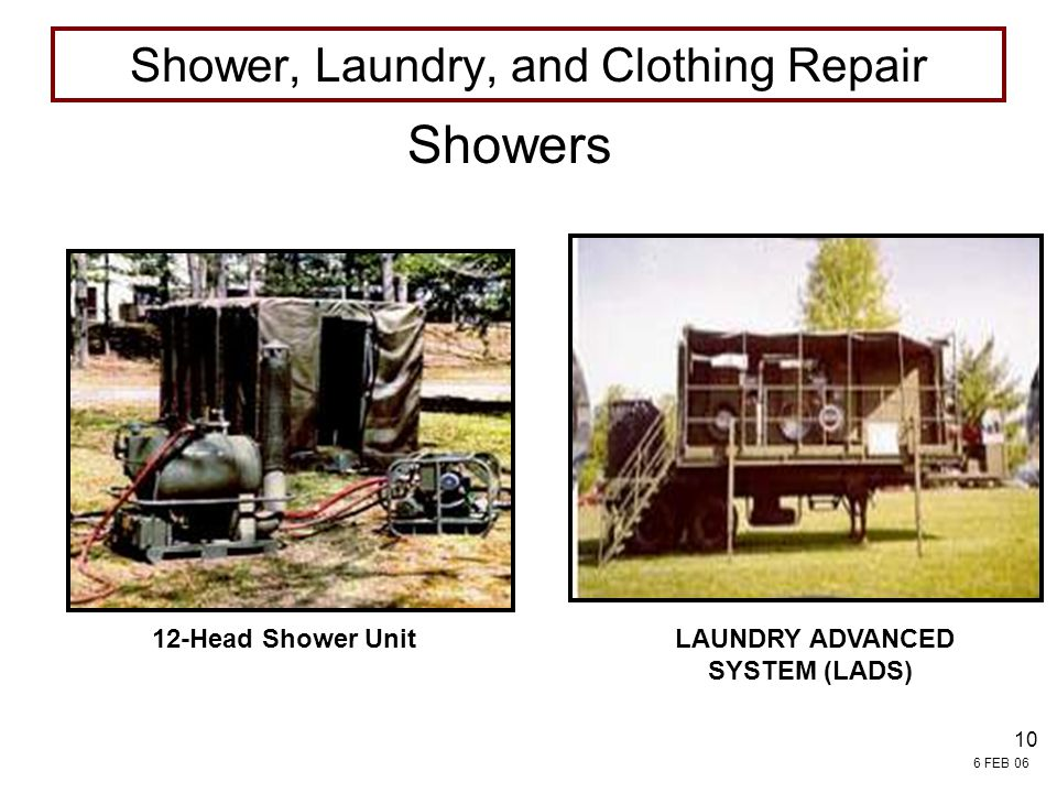 Shower, Laundry, and Clothing Repair