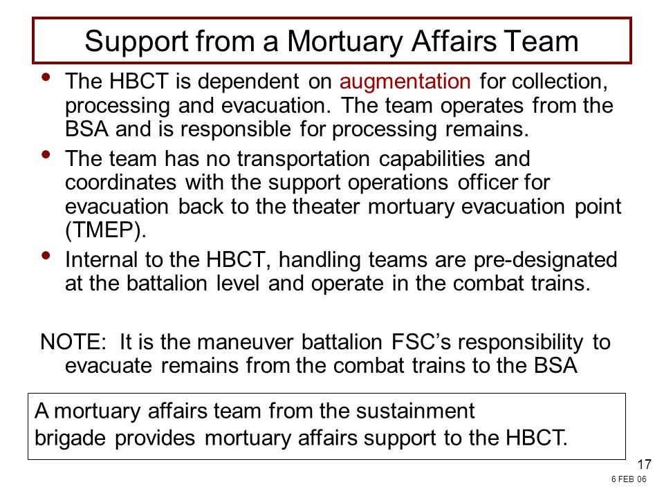 Support from a Mortuary Affairs Team