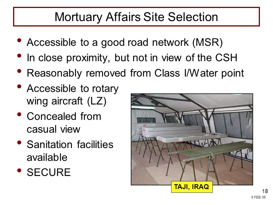Mortuary Affairs Site Selection