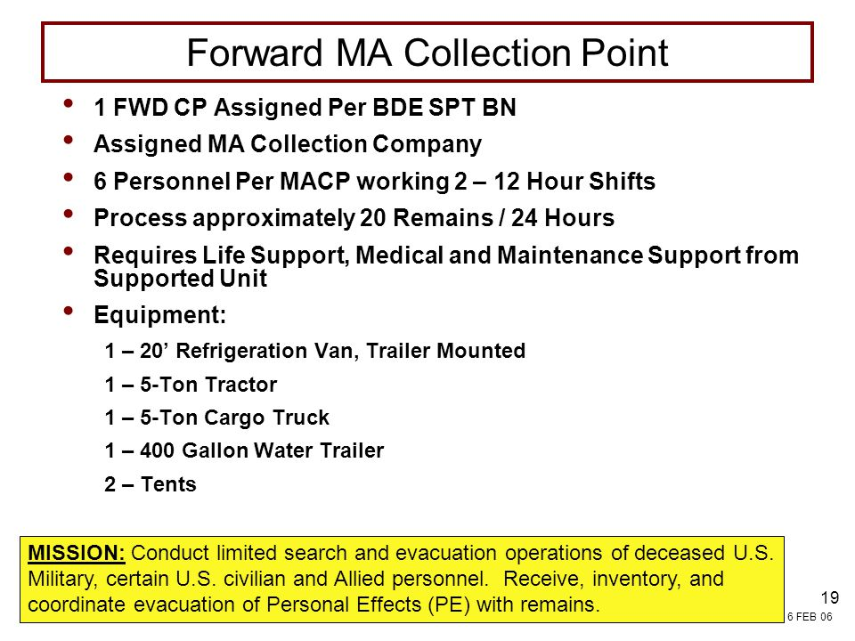Forward MA Collection Point
