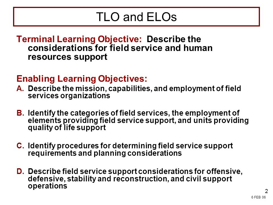 4/13/2017 7:54 PM FIELD SERVICES. TLO and ELOs.