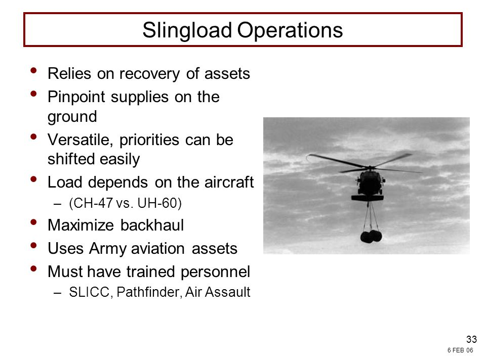 Slingload Operations Relies on recovery of assets