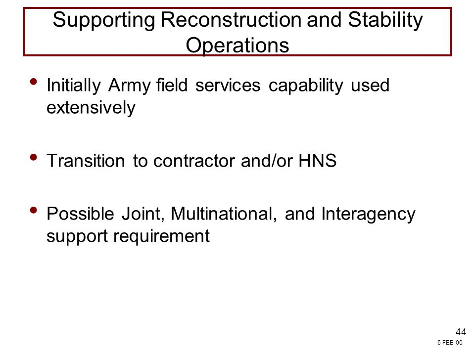 Supporting Reconstruction and Stability Operations