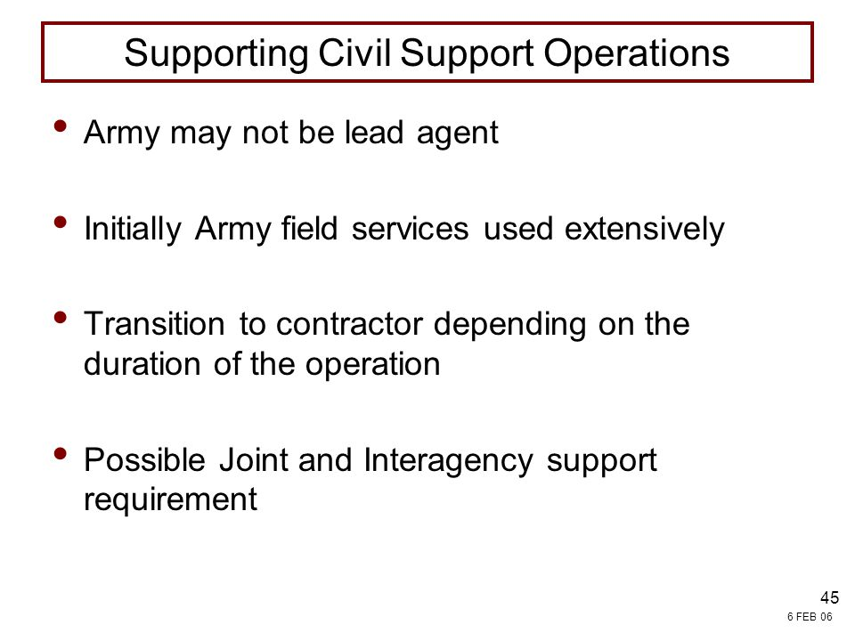 Supporting Civil Support Operations