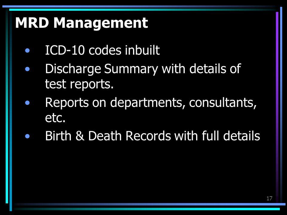 MRD Management ICD-10 codes inbuilt