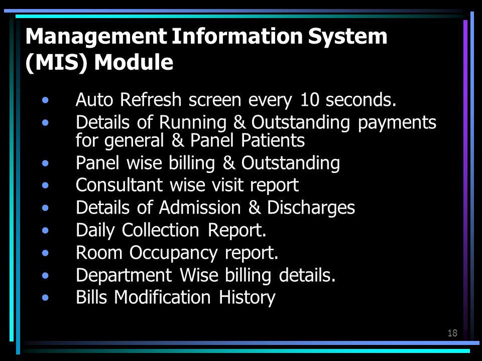 Management Information System (MIS) Module