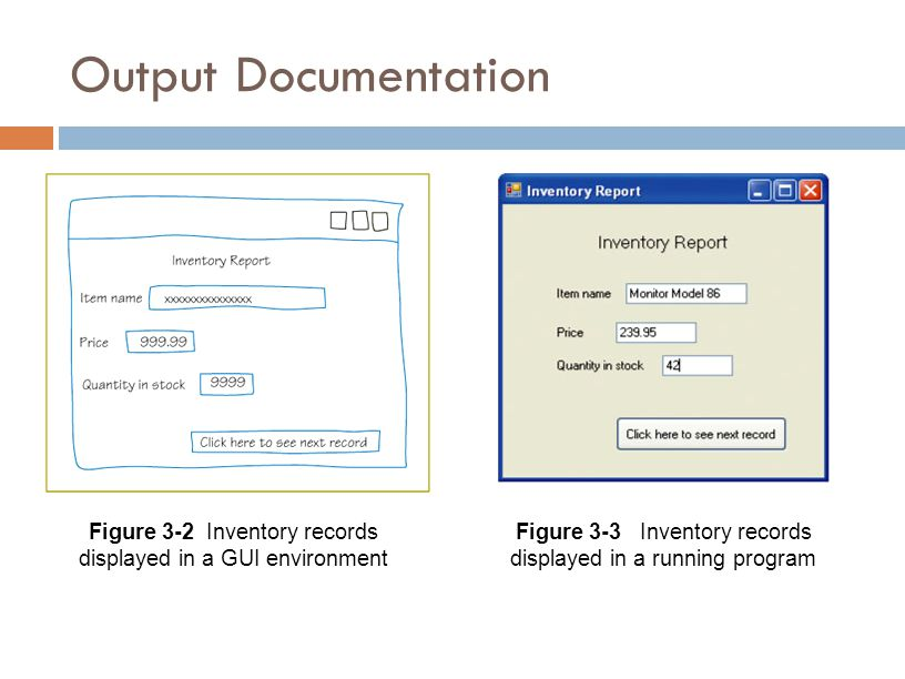 Output Documentation Figure 3-2 Inventory records displayed in a GUI environment.