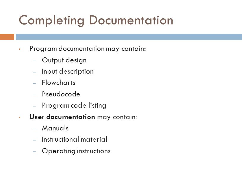 Completing Documentation
