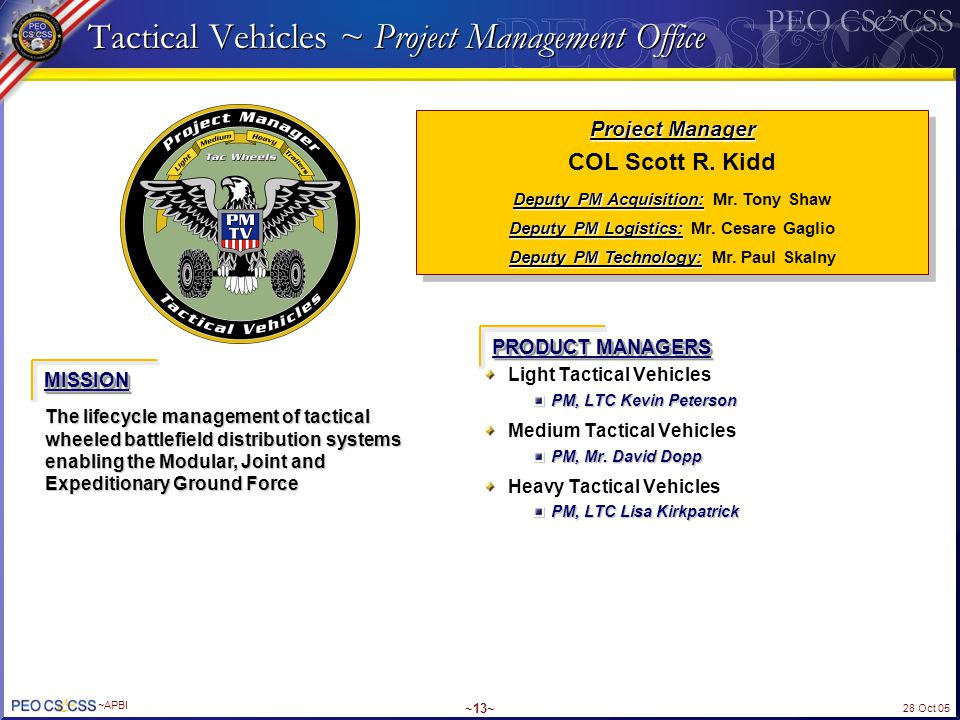 Tactical Vehicles ~ Project Management Office