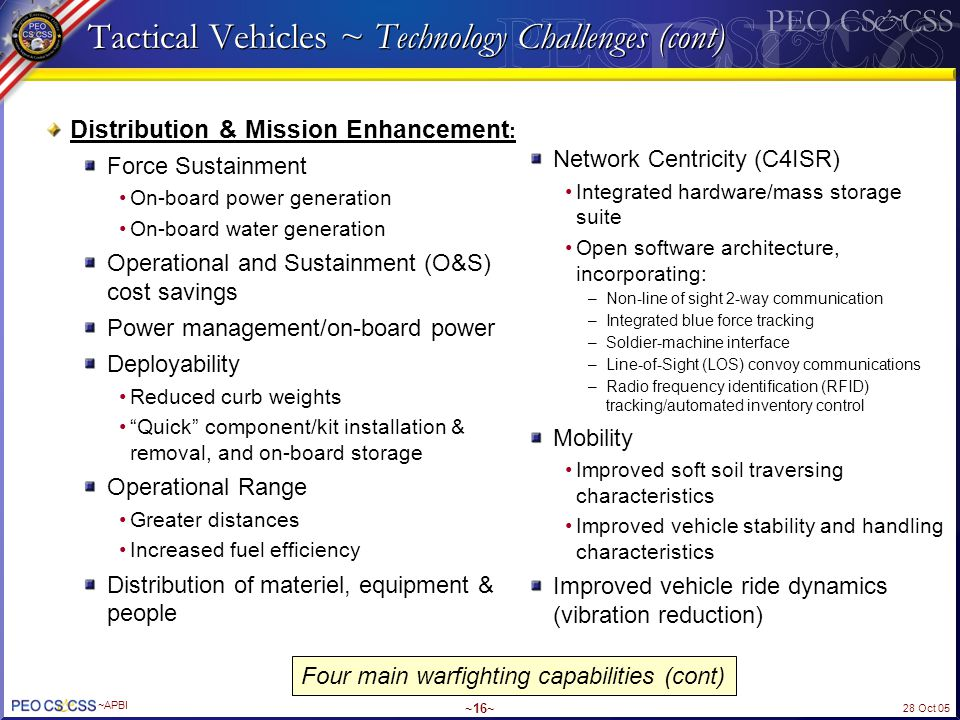 Tactical Vehicles ~ Technology Challenges (cont)