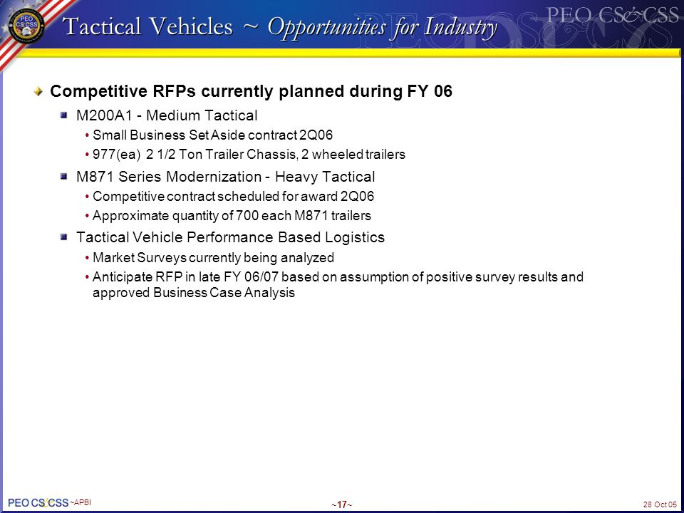 Tactical Vehicles ~ Opportunities for Industry