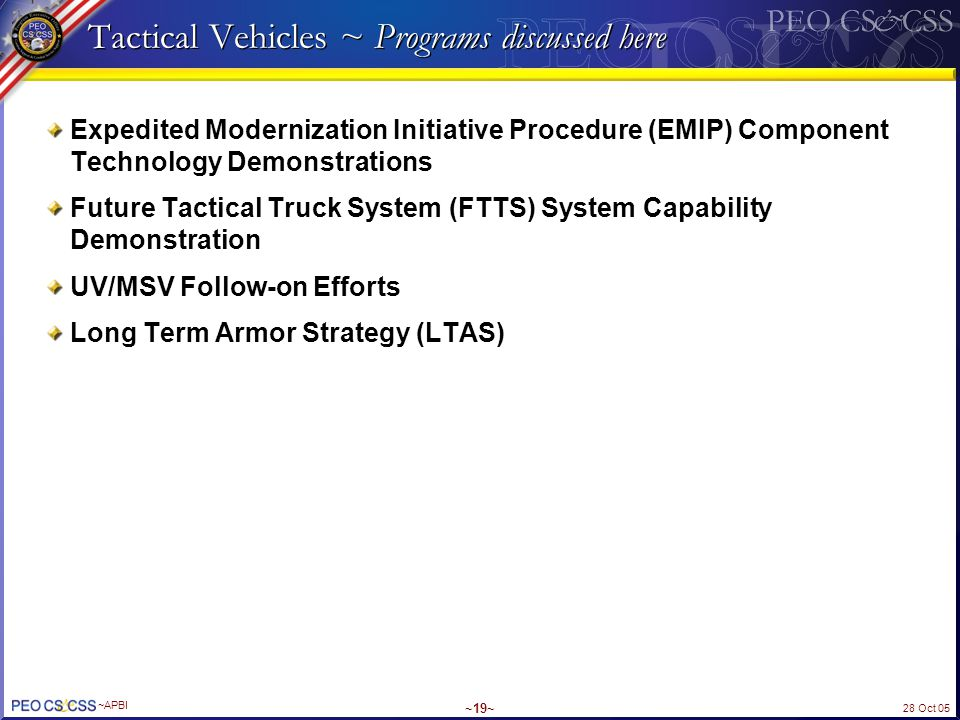 Tactical Vehicles ~ Programs discussed here
