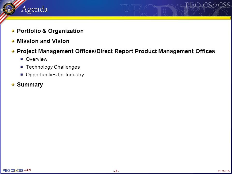Agenda Portfolio & Organization Mission and Vision
