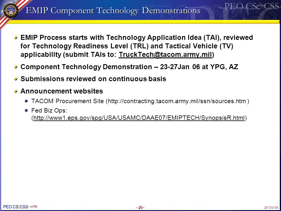 EMIP Component Technology Demonstrations