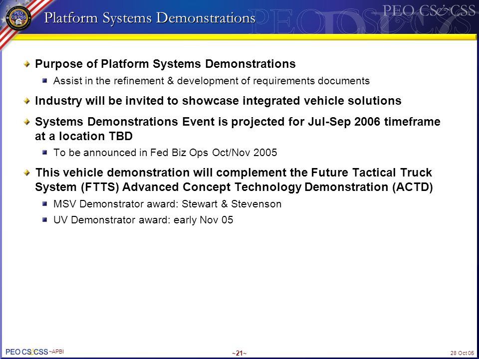 Platform Systems Demonstrations