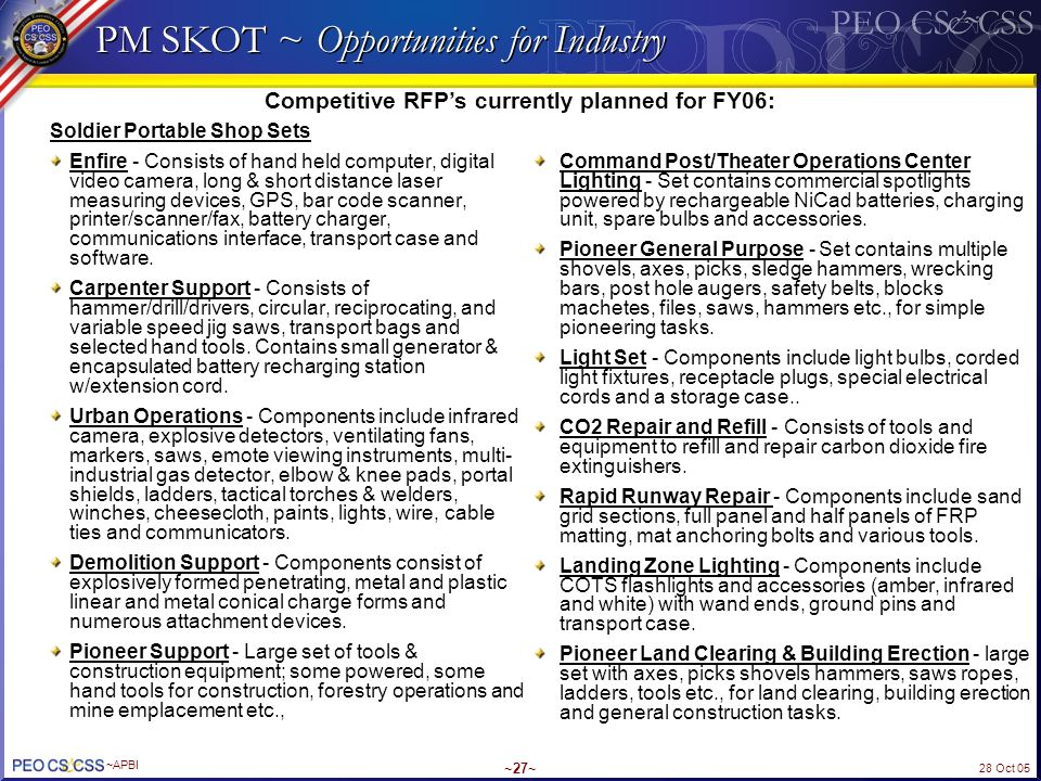 PM SKOT ~ Opportunities for Industry