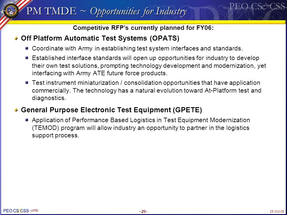 PM TMDE ~ Opportunities for Industry