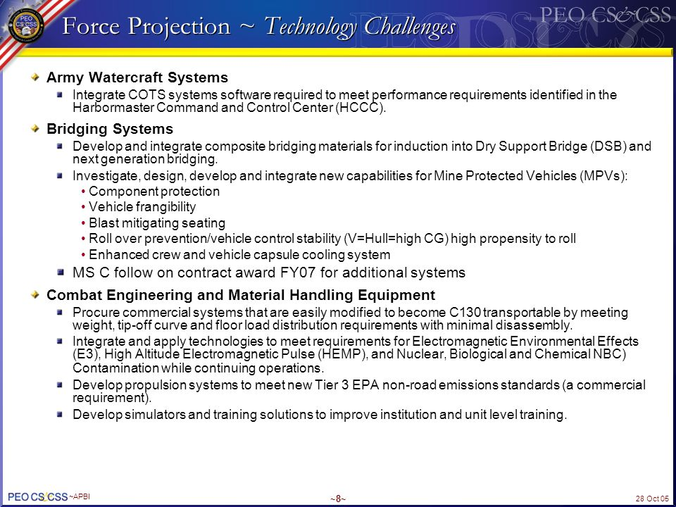 Force Projection ~ Technology Challenges
