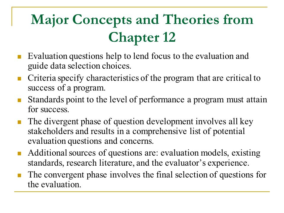 Major Concepts and Theories from Chapter 12