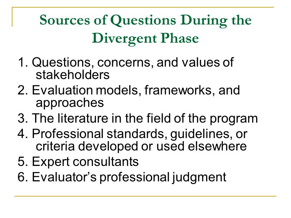 Sources of Questions During the Divergent Phase