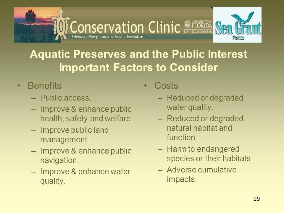 Aquatic Preserves and the Public Interest Important Factors to Consider