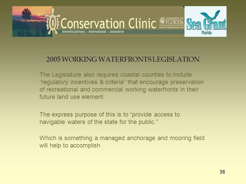 2005 WORKING WATERFRONTS LEGISLATION