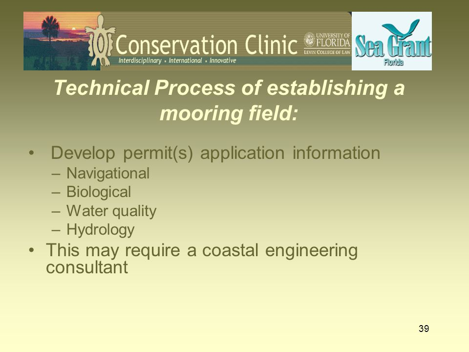 Technical Process of establishing a mooring field: