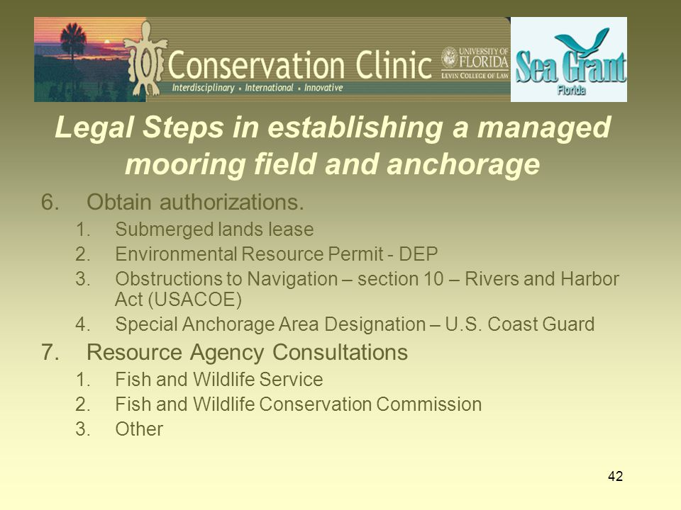Legal Steps in establishing a managed mooring field and anchorage