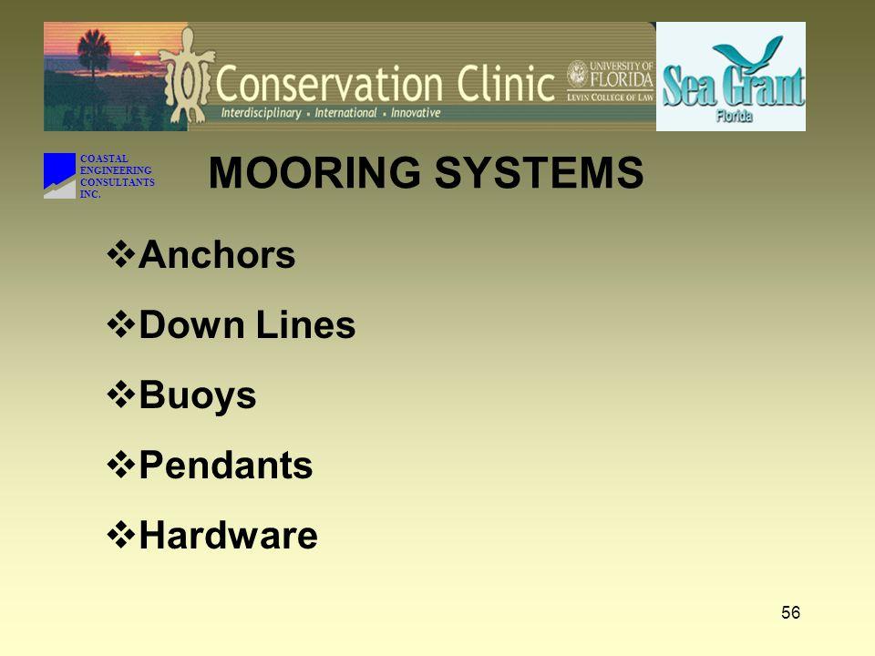 MOORING SYSTEMS Anchors Down Lines Buoys Pendants Hardware COASTAL
