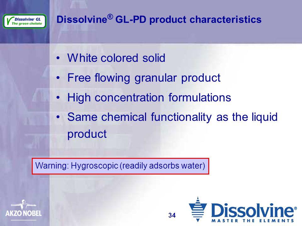Dissolvine® GL-PD product characteristics