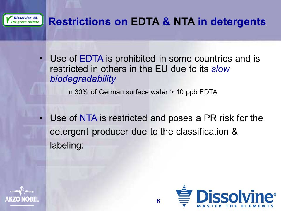 Restrictions on EDTA & NTA in detergents