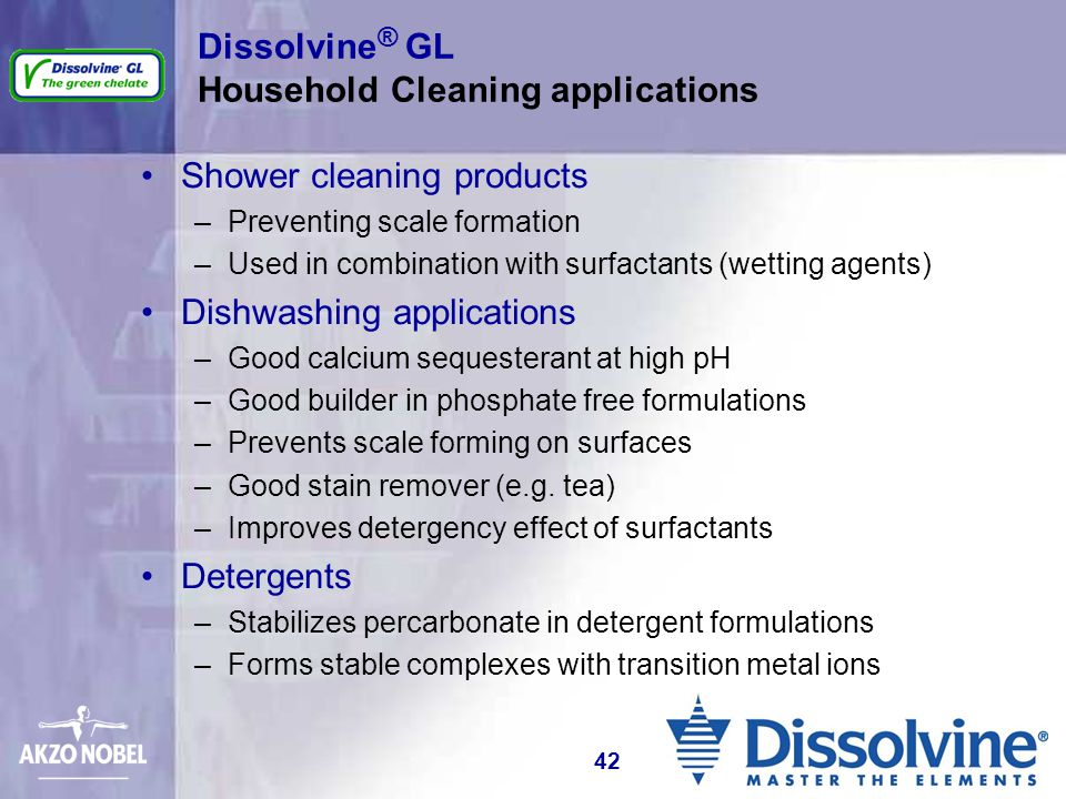 Dissolvine® GL Household Cleaning applications
