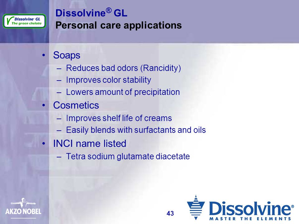 Dissolvine® GL Personal care applications