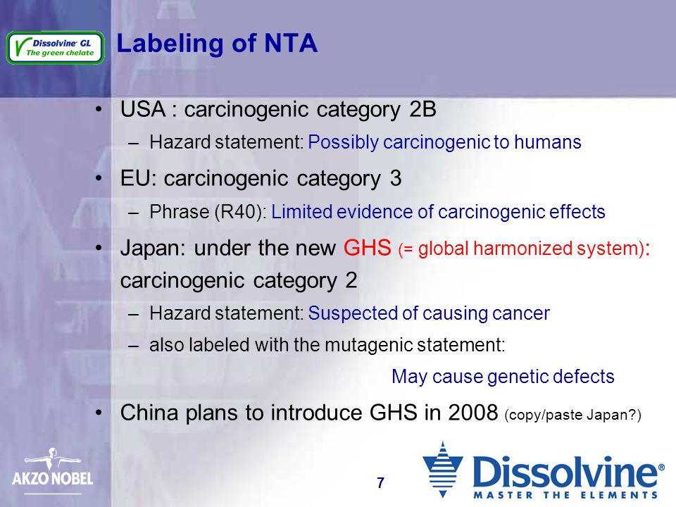 Labeling of NTA USA : carcinogenic category 2B