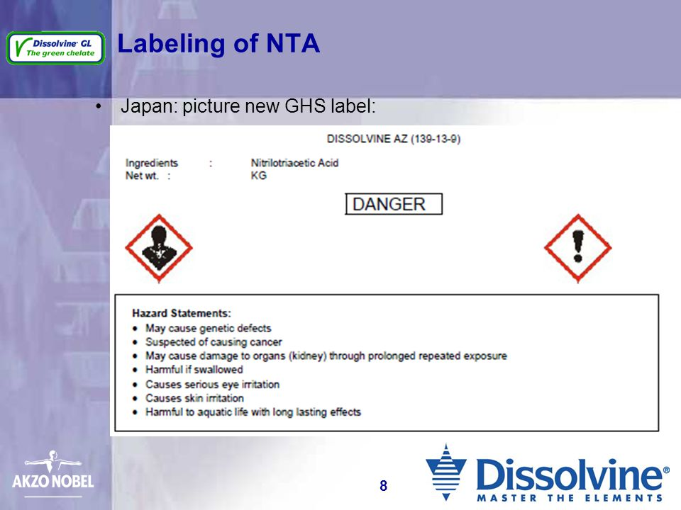 Labeling of NTA Japan: picture new GHS label: 8