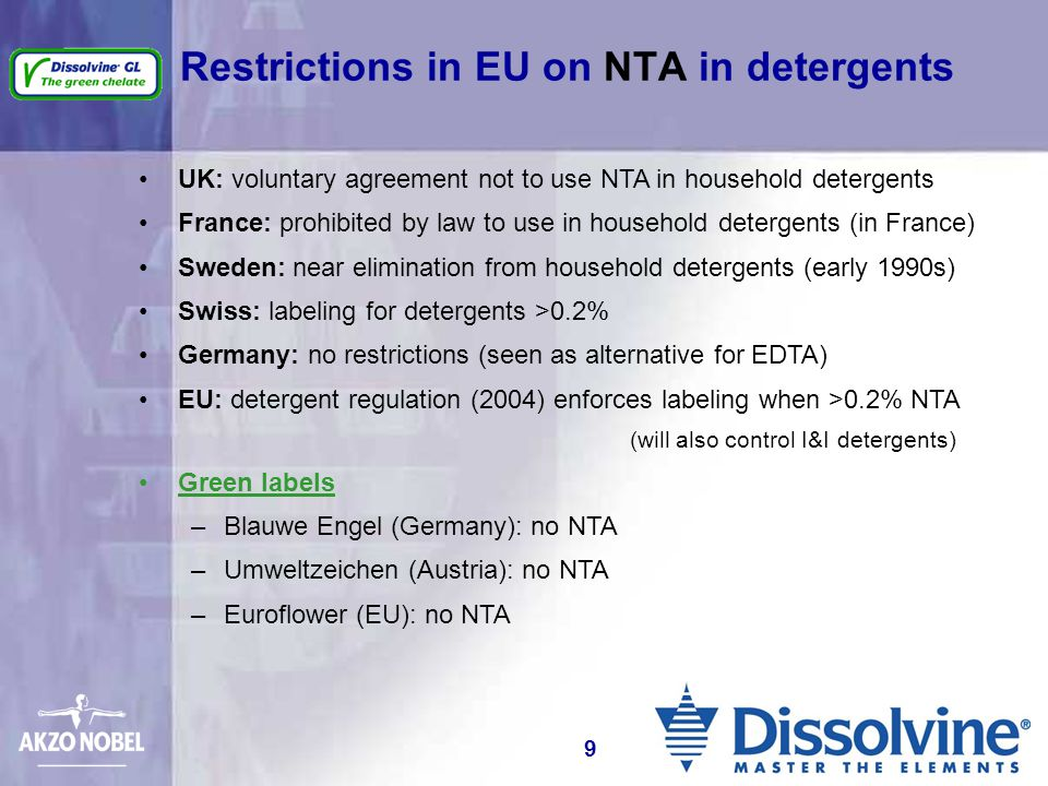 Restrictions in EU on NTA in detergents